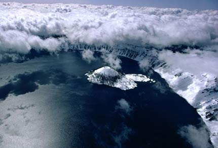 Aerial view of Crater Lake in Oregon