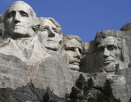 Mount Rushmore: George Washington, Thomas Jefferson, Theodore Roosevelt and Lincoln