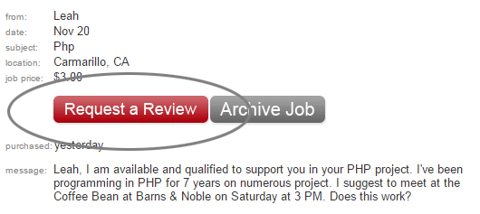 Click the red button to request reviews and ratings