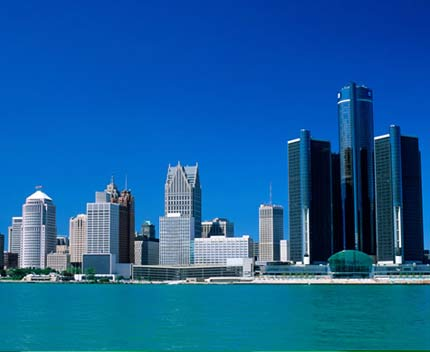 Skyline of downtown Detroit with the General Motors building