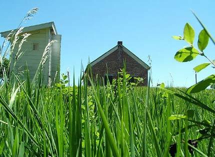 Nebraska school house in grass, Rock Bluff, NE